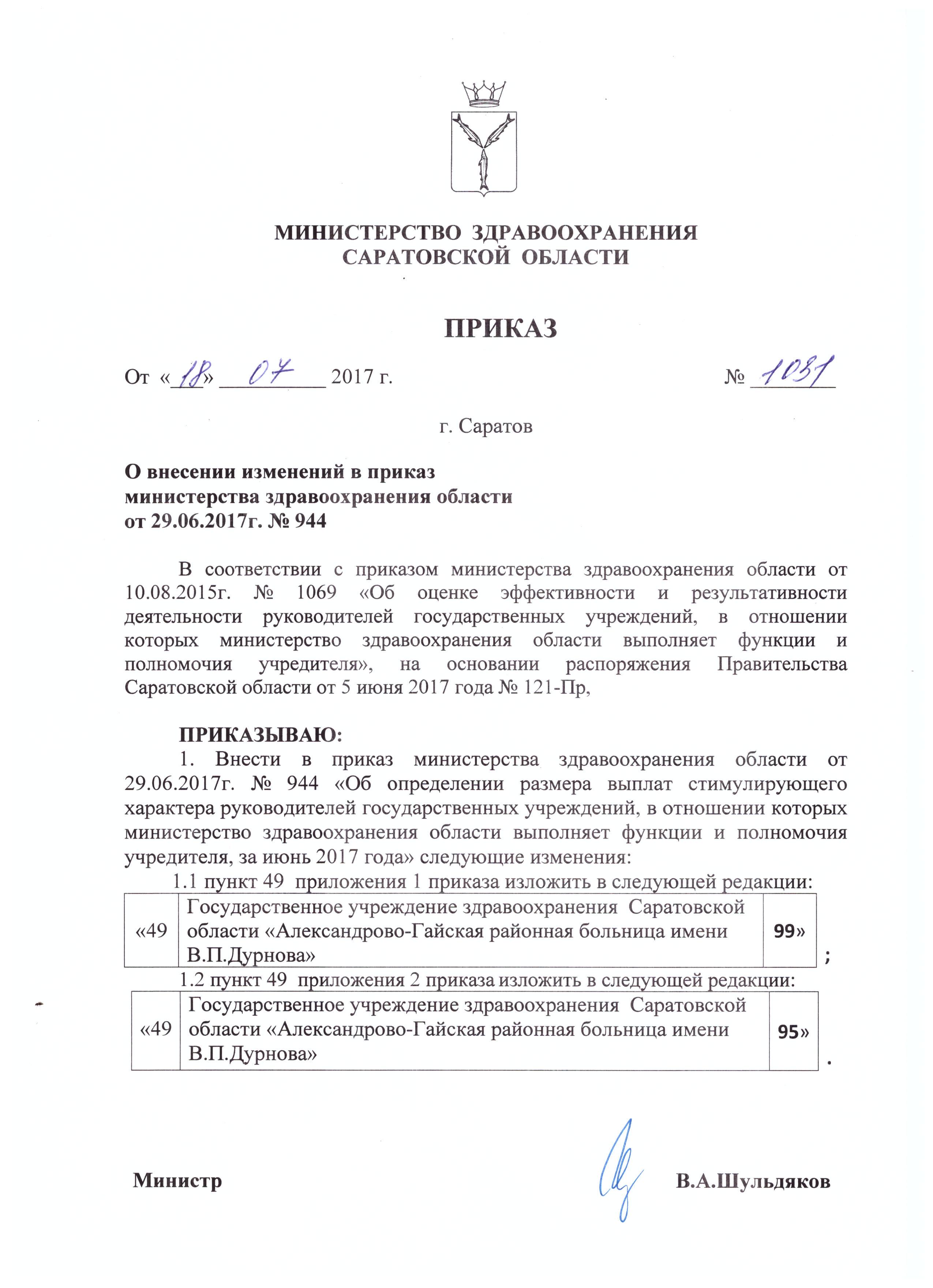 Приказ 1069 министерства здравоохранения саратовской области
